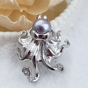 Sterling Octopus and Freshwater Pearl Necklace